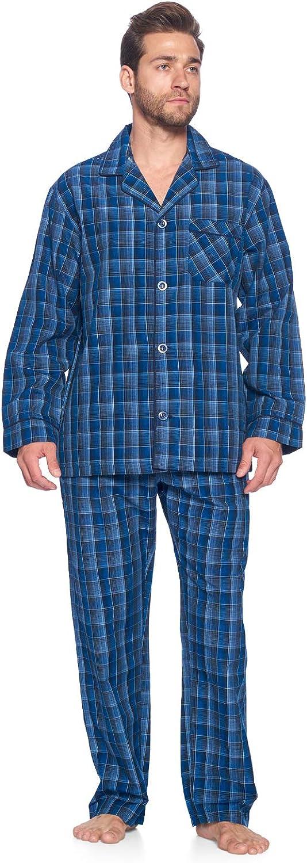 Ashford & Brooks Men's Long Sleeve Pajamas Set   Woven Plaid Sleepwear & Loungewear Button Down PJ Set at  Men's Clothing store