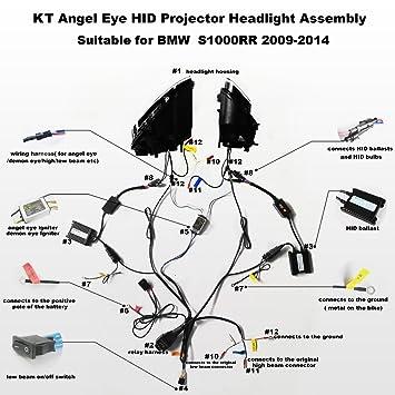 Amazon.com: KT LED Angel Eye Headlight Assembly for BMW S1000RR 2009 ...