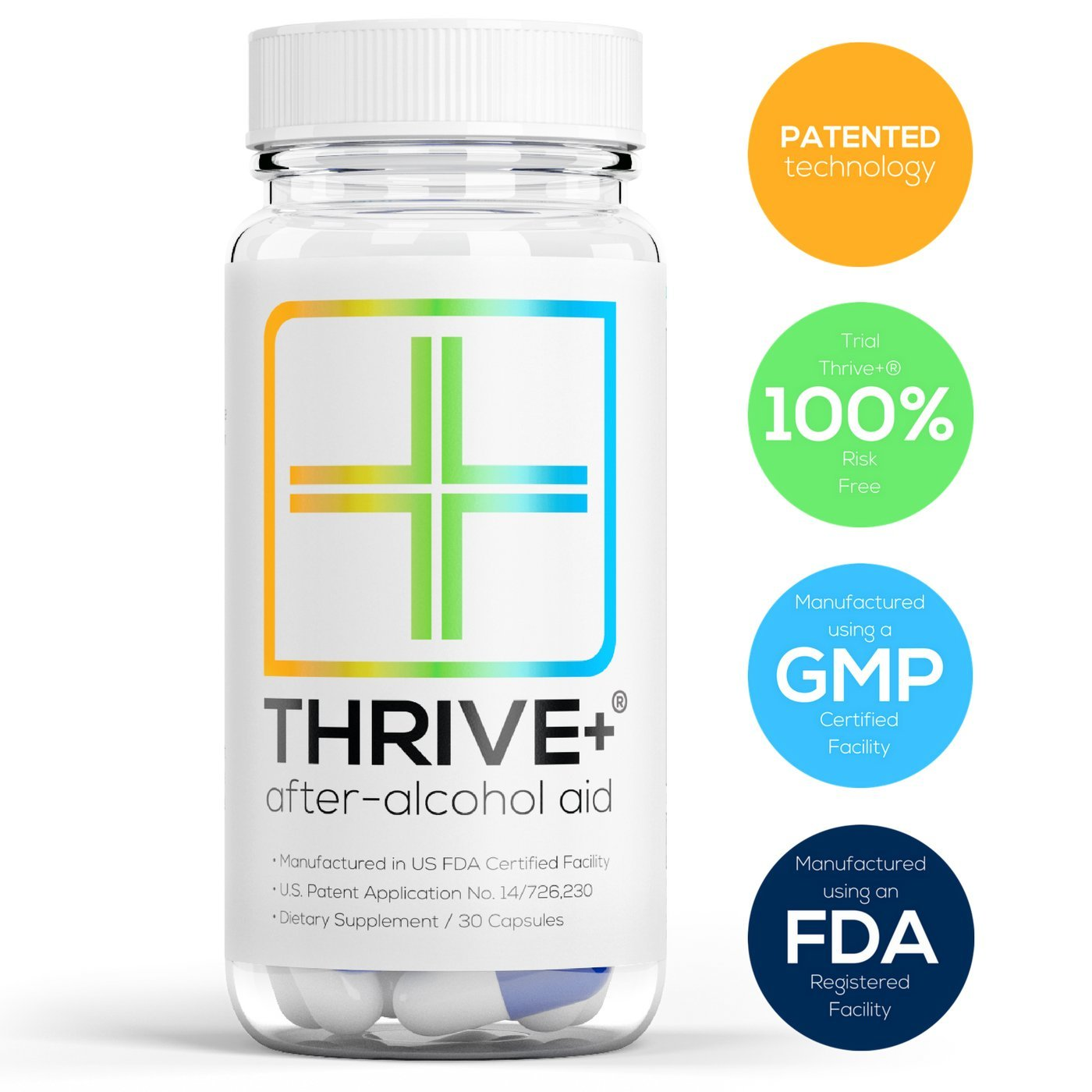 Thrive+® After-Alcohol AidTM: Reduce Alcohol's Negative Health Effects (Patented). Invented by Princeton student; used by PhD & MDs