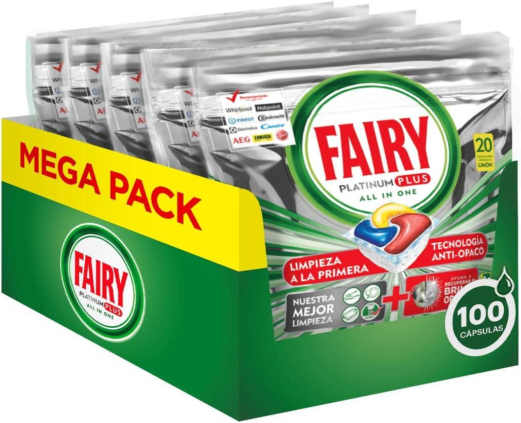 Fairy Platinum Plus - Pastillas Lavavajillas Todo en 1, 100 Cápsulas, 5 x 20 Unidades