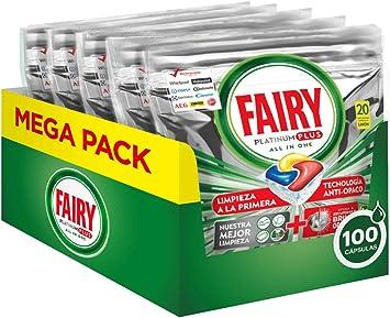 Fairy, Pastillas Lavavajillas Platinum Plus, 100 Cápsulas Todo en 1 ...