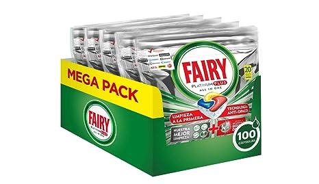 Fairy, Pastillas Lavavajillas Platinum Plus, 100 Cápsulas Todo en 1, 5 x 20 unidades