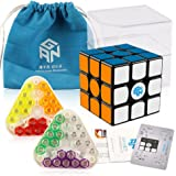 Coogam Gans 356 Air SM Speed Cube 3x3 Black Gan 356Air S Magnetic Puzzle Cube with GES V2 Spring (Superspeed Magnetic Version)