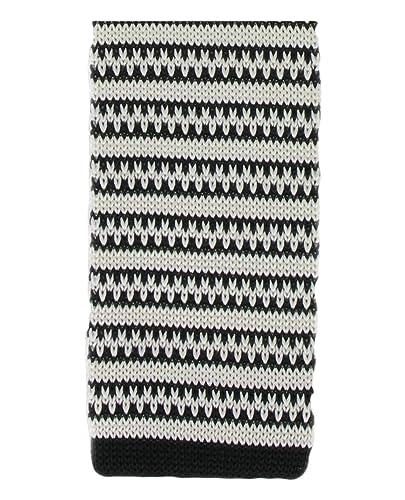 Negro / blanco de punto de seda con dibujos a rayas flaco corbata ...