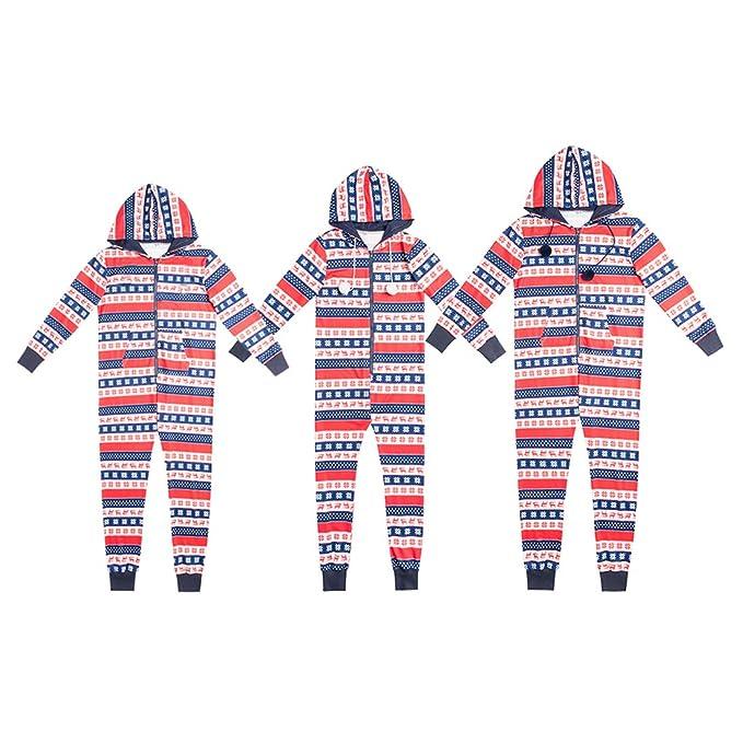 Zhhlinyuan Gracioso Padres e Hijos Encapuchado Conjunto de Pijama Navidad Fiesta Tema Conjunto de Trajes por