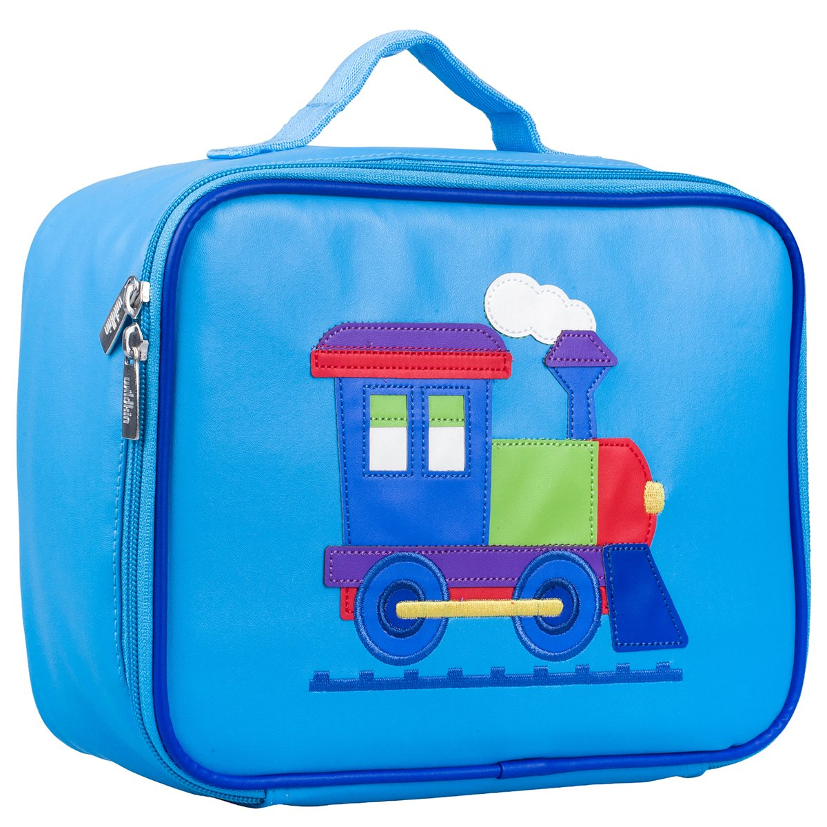Insulated Ages 3+ Perfect for Kids and Easy to Clean with Helpful Extras for Quick and Simple Organization Embroidered Lunch Box Moisture Resistant Wildkin Embroidered Lunch Box Train