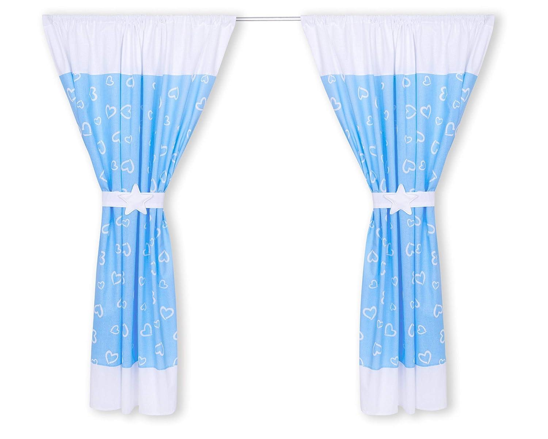 Amilian/® Kinderzimmer Vorh/änge 155 x 155 cm Set mit Schlaufen Baby Gardinen Vorhang Herzen Blau//Wei/ß