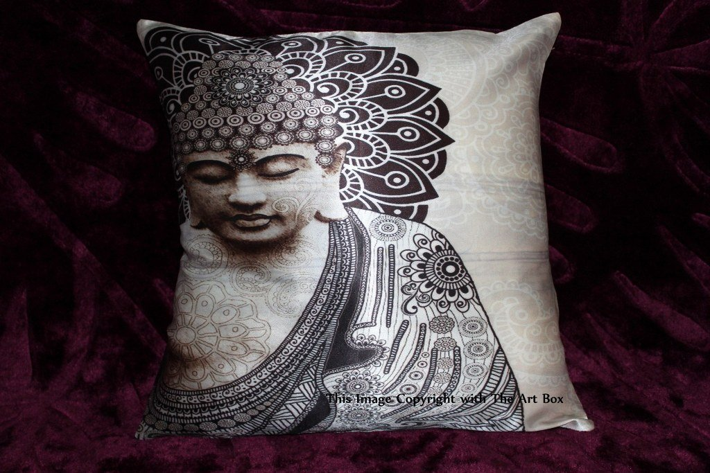 Cotton Set of Two 16 x 16 Cushion Cover Buddha Home Decor Indian Handmade Pillow Cases Set of 2 Cushion Covers By Art Box Store Artboxstore