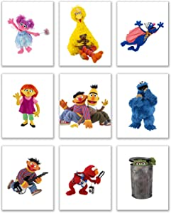 Sesame Street Art Prints - Set of Nine (8 x 10 inches) Photos - Grover Bert Ernie Big Bird Elmo Abby Julia Oscar The Grouch Cookie Monster