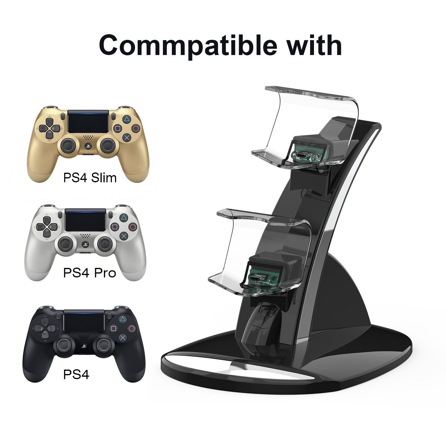YCCTEAM Dual USB Charging Charger Docking Station Stand for Playstation 4 PS4,PS4 Slim,PS4 Pro Controller