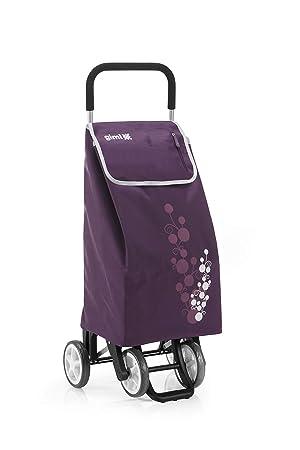Gimi Twin- Carro de la compra, con 4 ruedas, bolsa impermeable de poliéster, capacidad de 56 litros, morado, 40 x 53 x 92 cm: Amazon.es: Hogar
