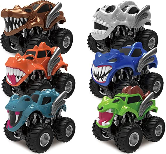 JOYIN Pack 6 Pack Monster Trucks Coches de Juguetes para Niños Camión Monstruos Wheels con Motor Fricción: Amazon.es ...