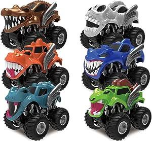JOYIN Pack 6 Pack Monster Trucks Coches de Juguetes para Niños ...