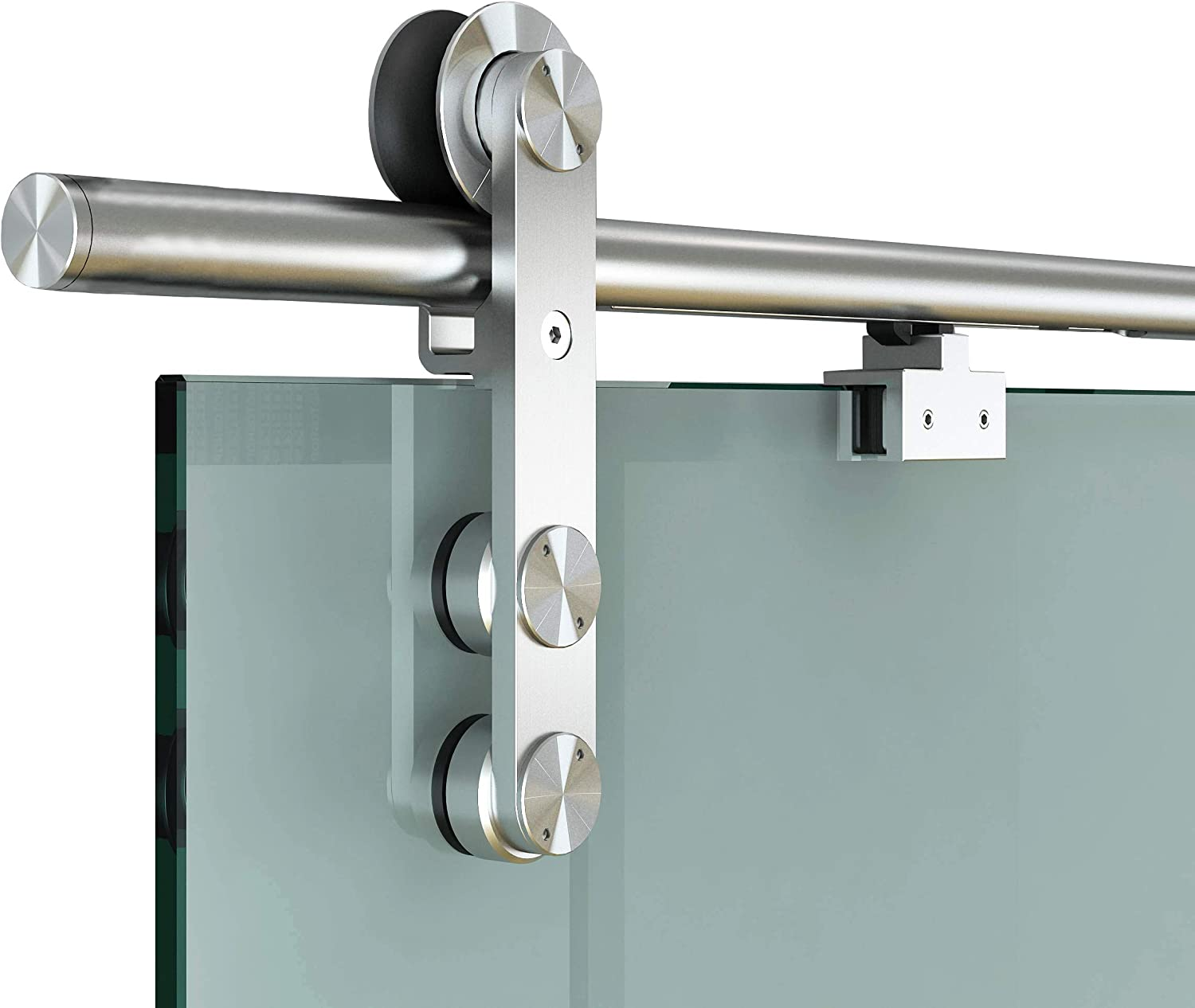DIYHD 6FT Soft Close Glass Barn Door Hardware Stainless Steel Two Sides Soft Close Mechanism Office Glass Sliding Door Track with One Side Glass Handle