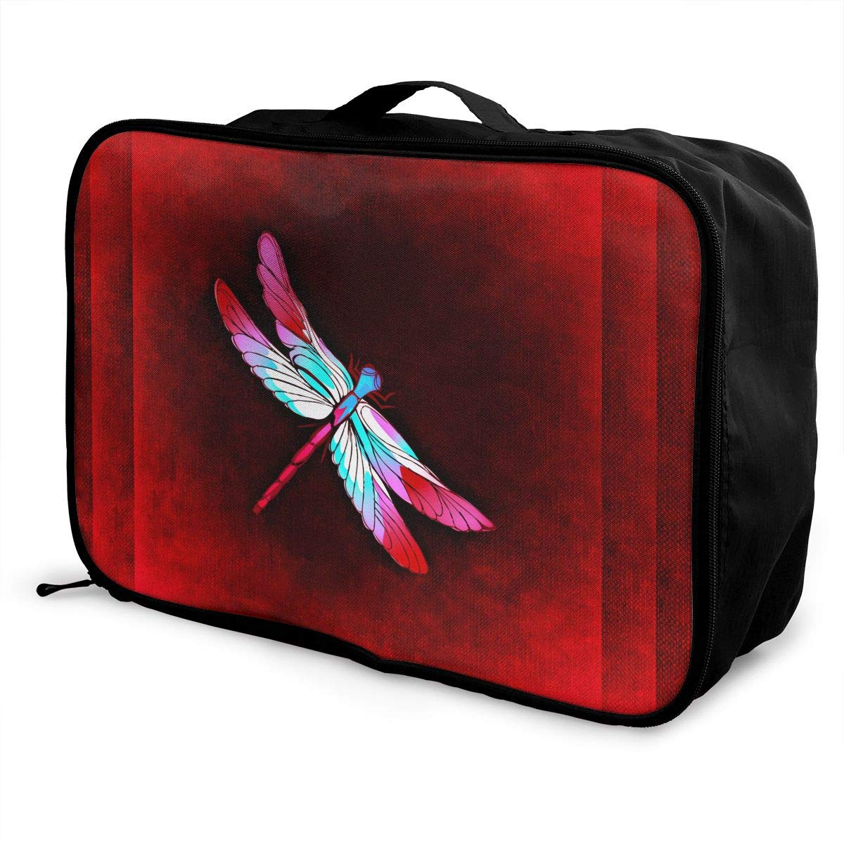 ADGAI Dragonfly On Red Background Canvas Travel Weekender Bag,Fashion Custom Lightweight Large Capacity Portable Luggage Bag,Suitcase Trolley Bag