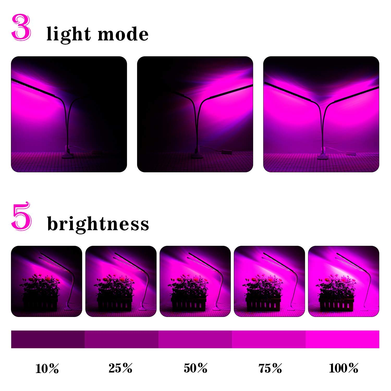 OxyLED Grow Light for Indoor Plants, Timing Function Dual Head Plant Light, 36 LED 5 Dimmable Levels Grow Lamp with Flexible Gooseneck for Hydroponics Greenhouse Gardening by OxyLED (Image #2)