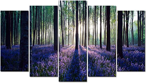 Visual Art Decor 5 Pieces Purple Sunshine Forest Picture Wall Art Tree Nature Scenery Giclee Canvas Prints Ready to Hang