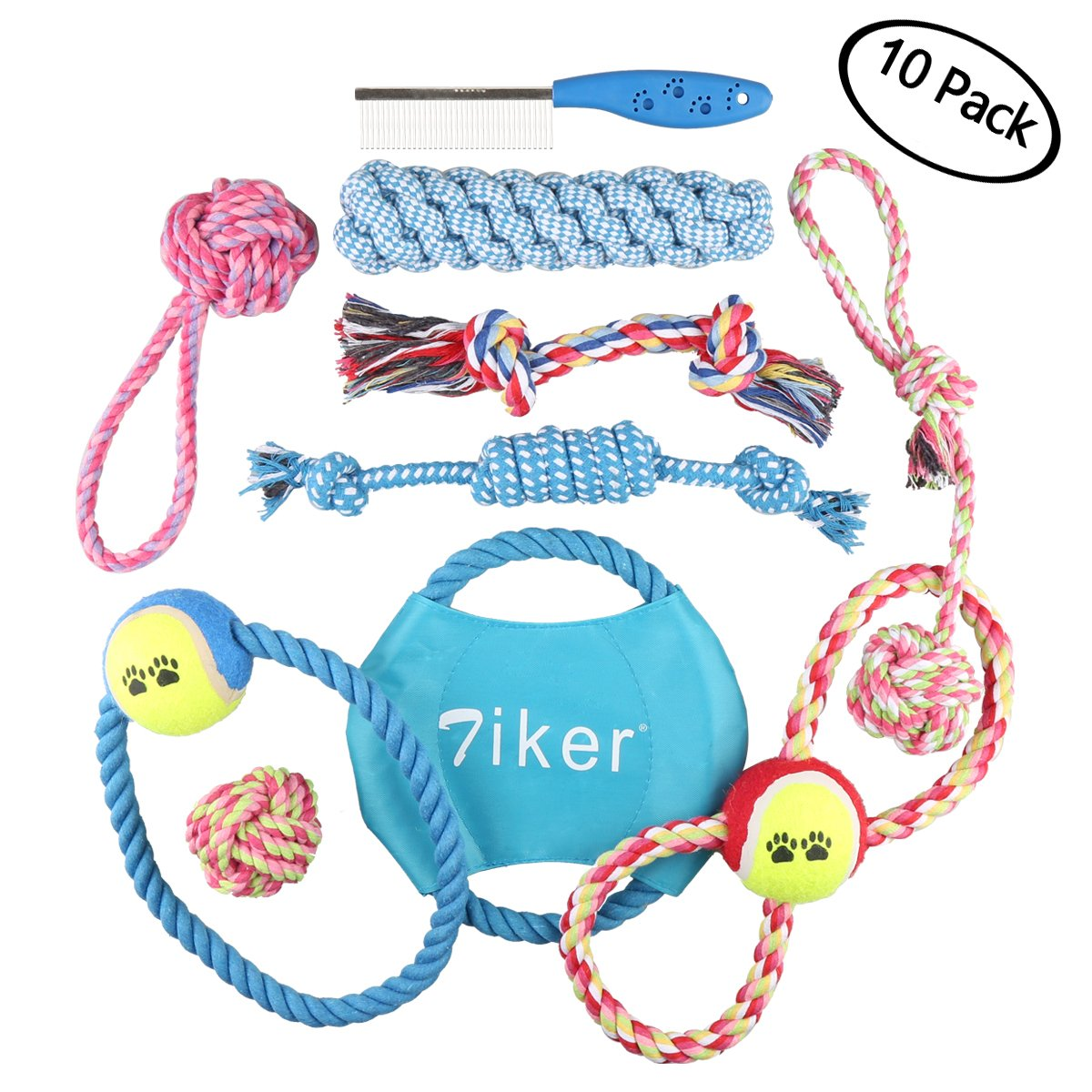 Dog Toys 10 Pack Cotton Rope Set, Variety Pet Dogs Toy Set for Large to Small Doggie Color Random