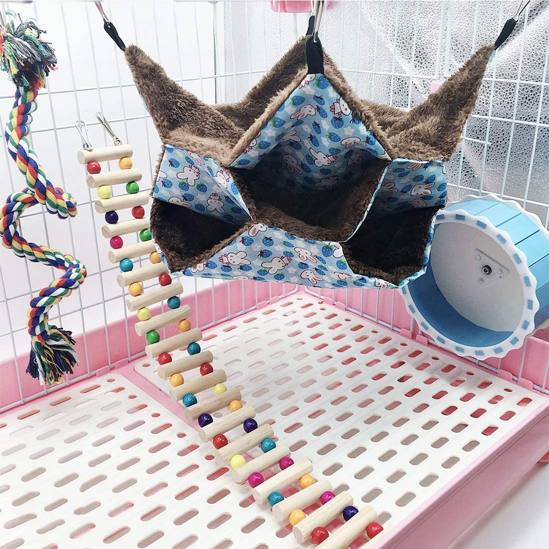 Cage Hanging Warm Fleece Hamster Bed Triple-Layer Pet Bed Hut ...