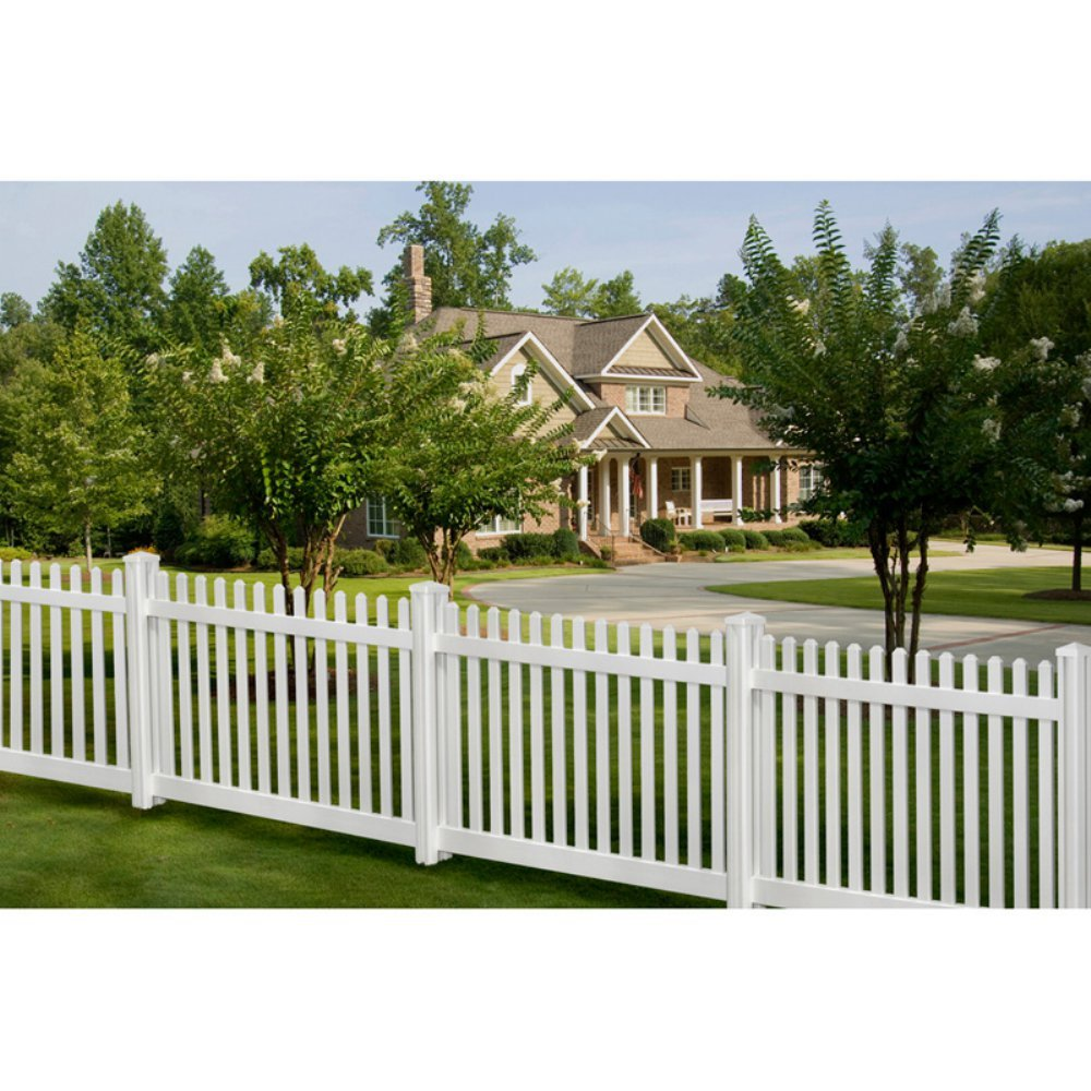 Amazon wambam traditional 4 by 7 feet premium classic vinyl amazon wambam traditional 4 by 7 feet premium classic vinyl picket fence with post and cap outdoor decorative fences patio lawn garden baanklon Choice Image
