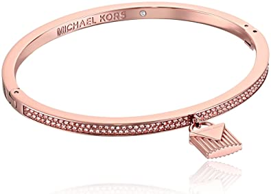 61879d105eda Michael Kors  quot Fashion Logo Love Rose Gold-Tone Hinged Padlock Charm  Bracelet