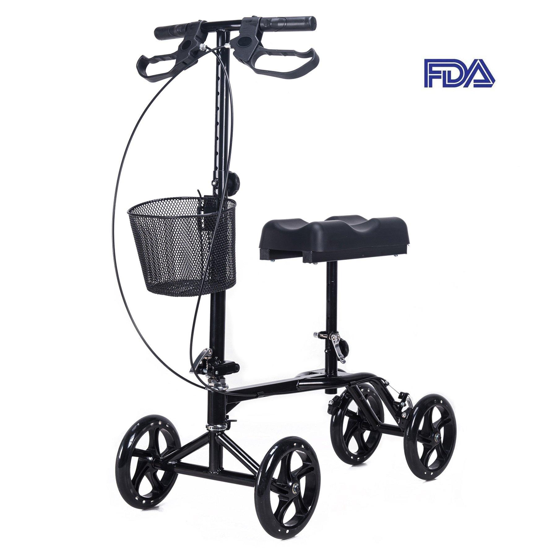 CO-Z Steerable Foldable Knee Walker Roller Scooter with Basket, 8'' Antiskid Rubber Wheels, Safety Double Brakes, Leg Walker Crutch (Black)