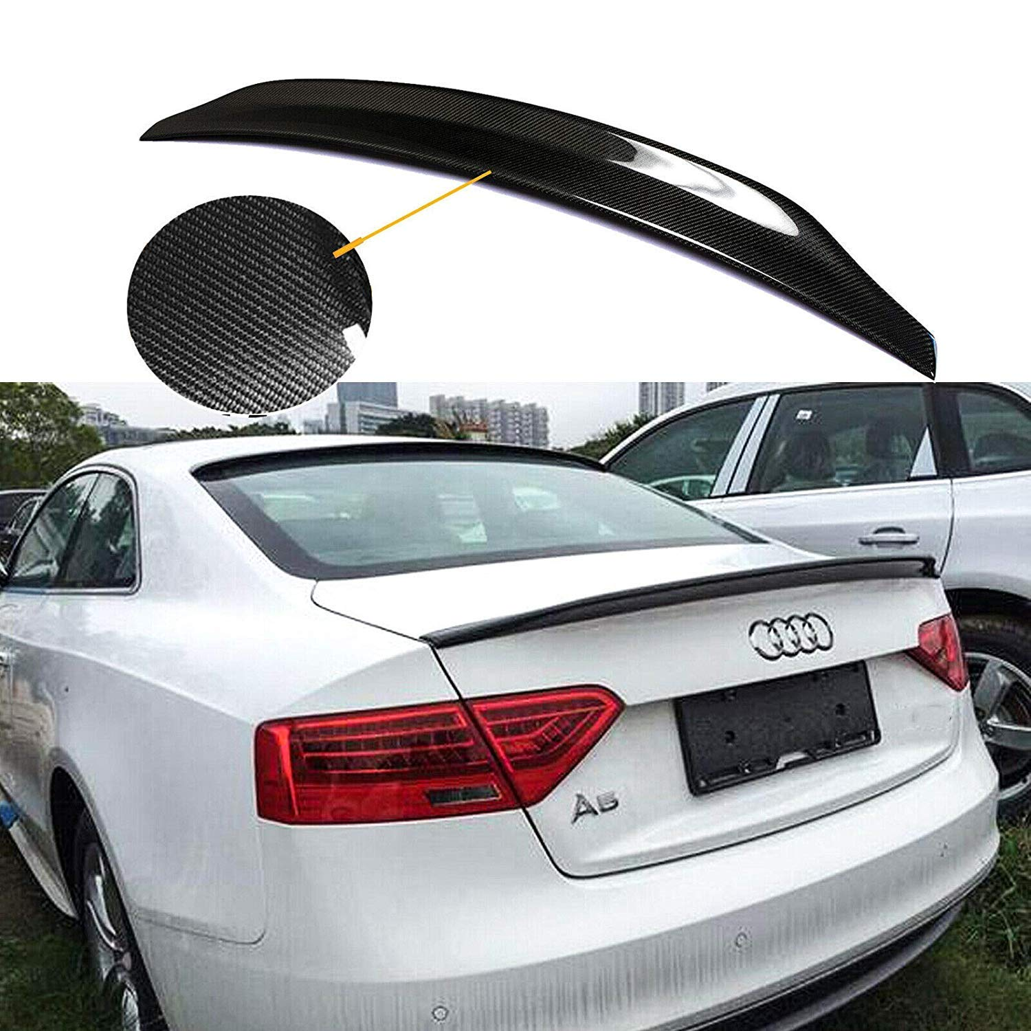 Xotic Tech Carbon Fiber Rear Trunk Lid Duckbill Cat Style Tail Spoiler Wing for Audi A5 B8 2008-2016
