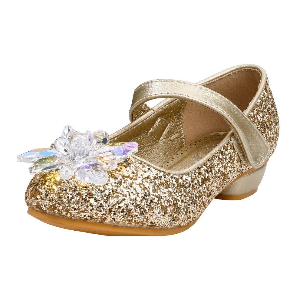 Maxu Little Girls Dress Mary Jane with Rhinestone,Gold,Little Kid,1.5M