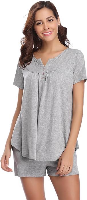timeless design 2884f d98c9 Damen Schlafanzug Kurz Baumwolle Sommer Pyjama Nachtwäsche Hausanzug  Kurzarm V Ausschnitt ,