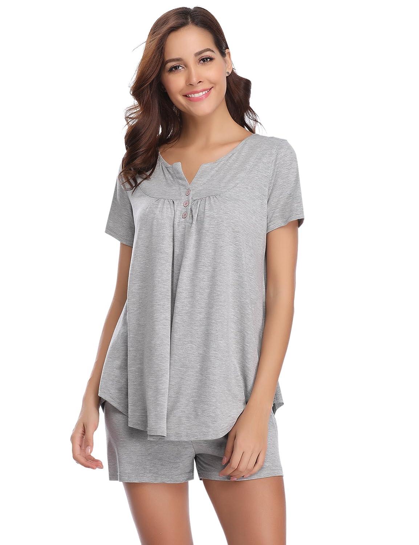 b690dffbd2 Hawiton Pijamas Mujer Verano Manga Corta Conjunto de Pijama para Mujer 2  Piezas de Ropa de Dormir Algodón Suave Loungewear