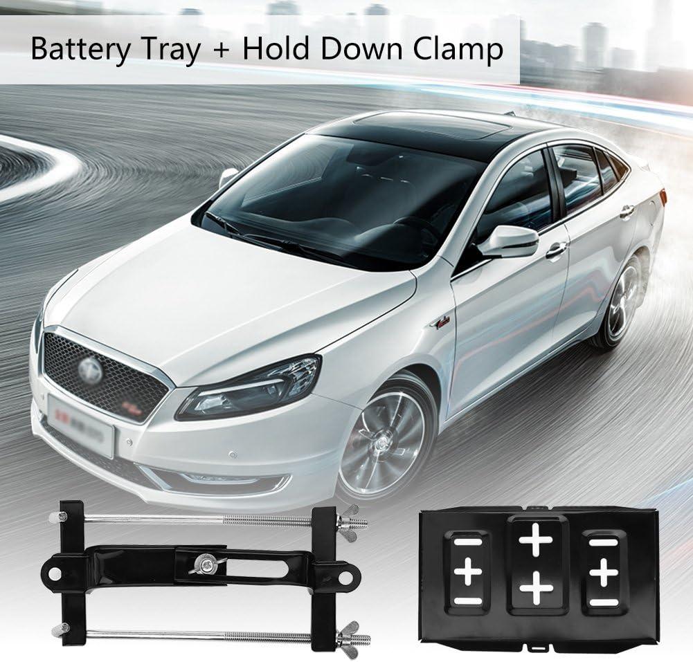 Universalmetall Autobatterie Bootsbatterie Halterung und Einstellbare Niederhalteklammer Kit Auto-Batteriefach