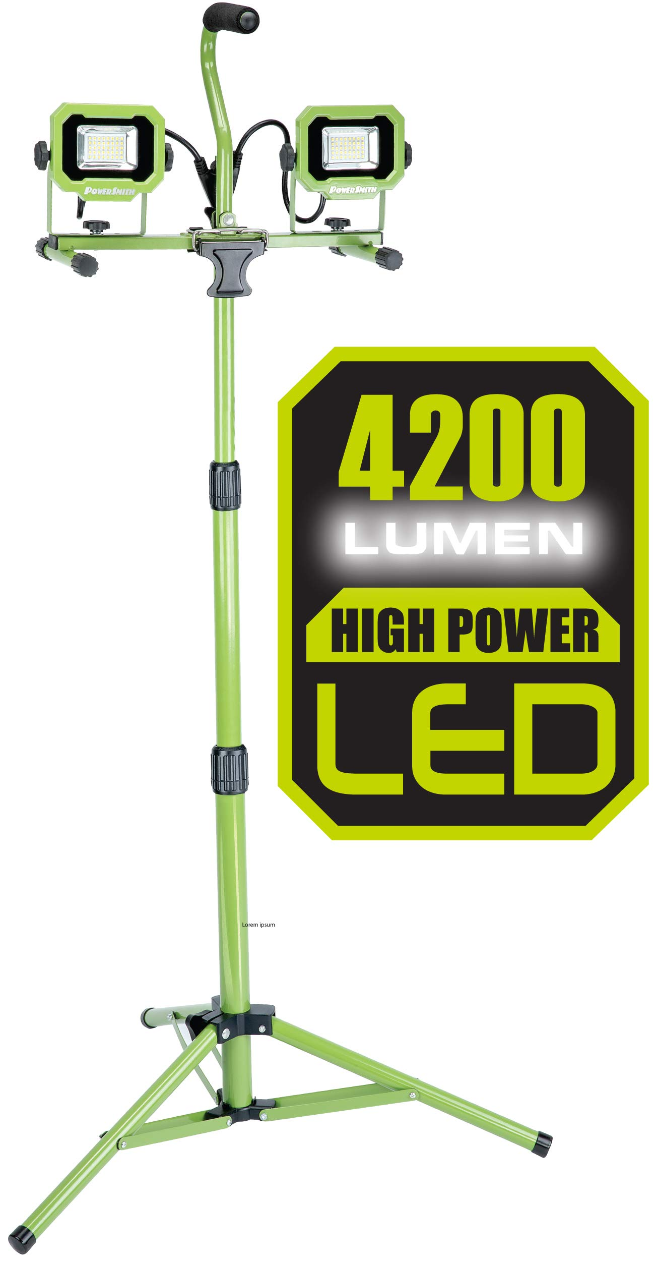 PowerSmith PWL2042TS 4,200 Lumen Dual Head LED Work Light with Adjustable Metal Telescoping Tripod and 9ft Power Cord, Green by POWERSMITH