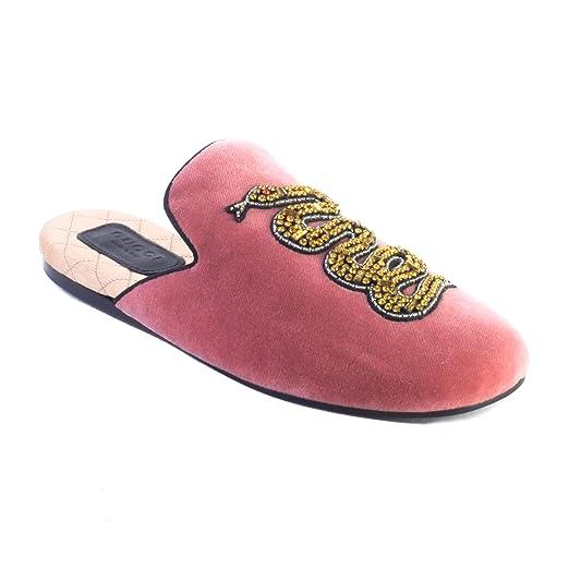 c09d42650 Gucci Women's Lawrence Princetown Mule Velvet Snake Sandal Shoes Pink