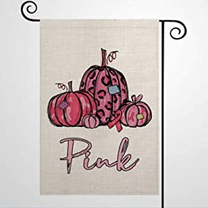 Garden Flag Breast Cancer Awareness Leopard Patch Pumpkin Yard Decor House Decor Flag Seasonal Banners for Patio Lawn Outdoor 28x40""