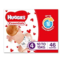 Huggies Essentials Nappies, Size 4 Toddler (10-15kg), 46 Count