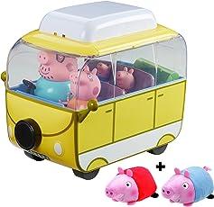 Paquete Caravana Peppa Pig Campervan de Lujo con 4 Figuras y 2 Peluches Adicionales