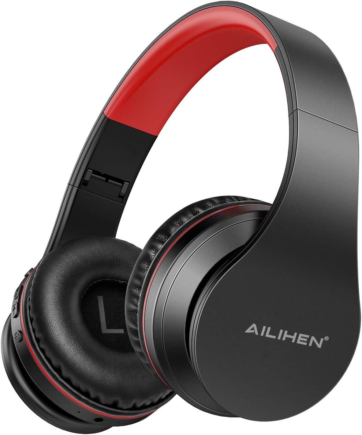 AILIHEN A80 Audífonos Inalámbricos Bluetooth 5.0 Plegables Sobre Oreja con Micrófono Hi-Fi Estéreo, Soporte con Tarjeta TF, Modo MP3, 25H Tiempo de Reproducción para Viajes TV PC Teléfono Móvil -negro