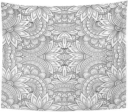 Soefipok Tapisserie Polyester Tissu Imprimer Home Decor Abstrait Noir Et Blanc Motif Tribal Ethnic Vol D Imagination Tenture Tapisserie Pour Salon Chambre Dortoir Amazon Fr Cuisine Maison