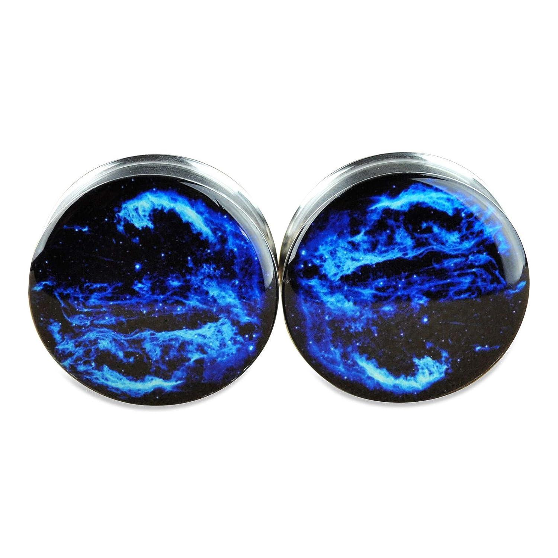 yati/_gj 1 Pair Stainless Steel Ear Plugs Flesh Stretchers Gauges Screw Cygnus Loop Nebula 10 mm