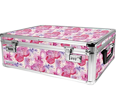 Vaultz Locking Supply Box Pink White//Polka Dot Heart VZ03607 5 x 2.5 x 8.5