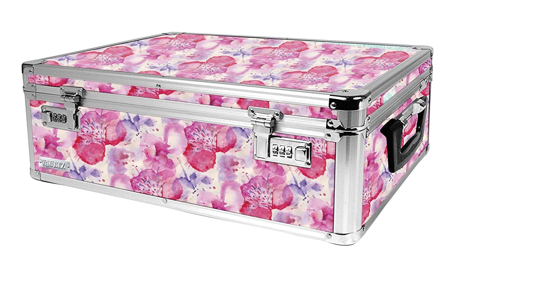 Vaultz Locking Storage Chest/Dorm Storage with Combination Locks, 6.5 x 19 x 13.5 Inches, Pink Floral Design (VZ03806)