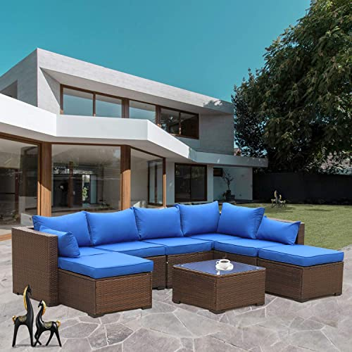Outdoor PE Wicker Sectional Furniture Set 6 Piece Patio Brown Rattan Conversation Sofa Loveseat with Royal Blue Cushions