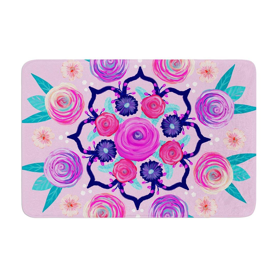 17 by 24 Kess InHouse Anneline Sophia Expressive Blooms Mandala Pink Floral Memory Foam/Bath Mat