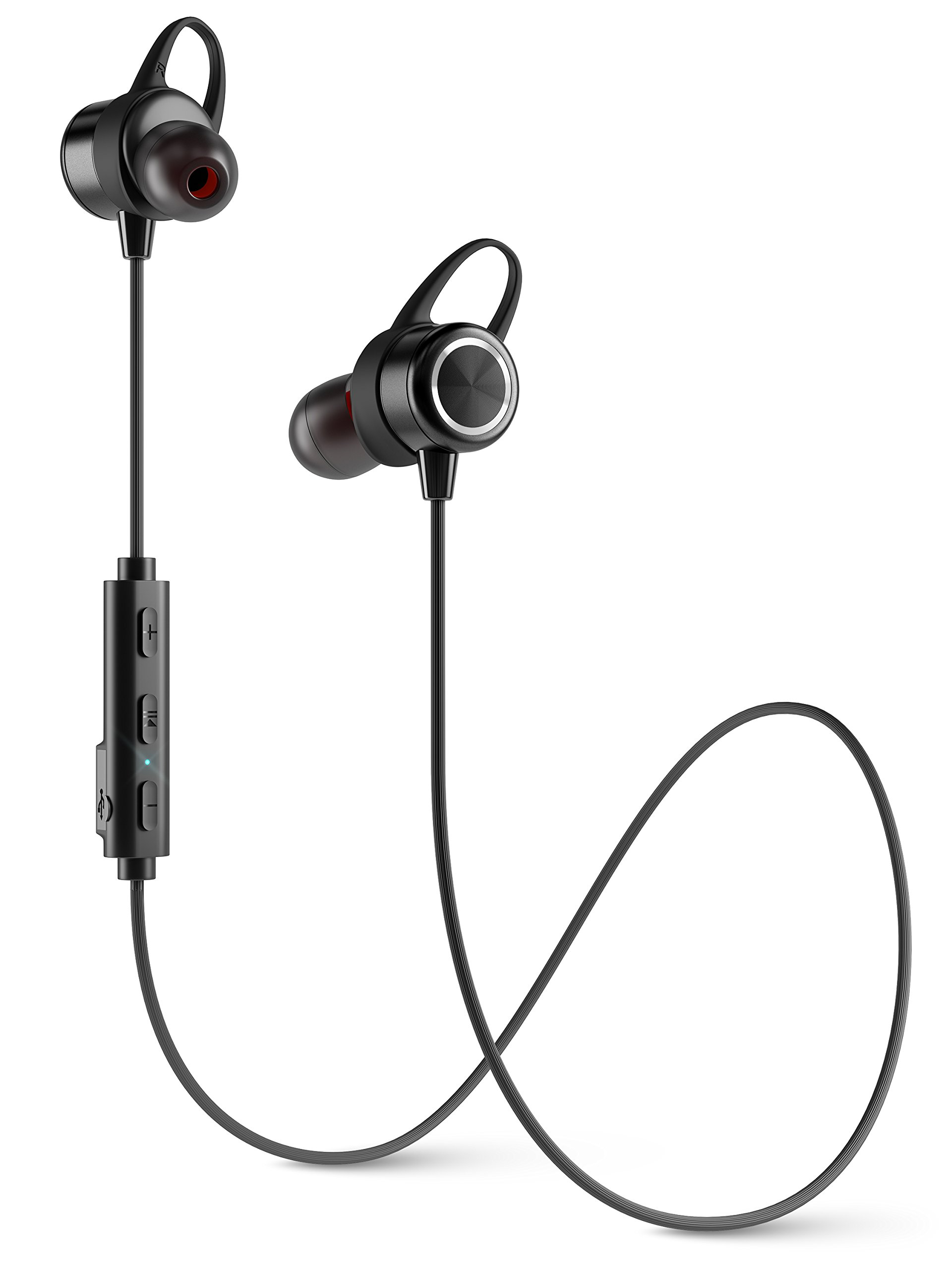 Diginex Bluetooth Earbuds Wireless Magnetic Headset Sport Earphones for Running IPX7 Waterproof Headphones 9 Hours Playtime High Fidelity Stereo Sound and Noise Cancelling Mic 1 Hour Recharge – Black by Diginex (Image #1)