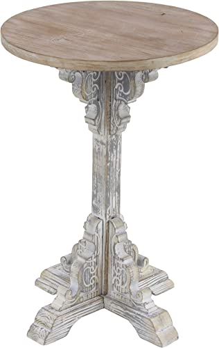 Deco 79 Traditional Round Wooden Accent Table, 15 W x 23 H, Beige, White