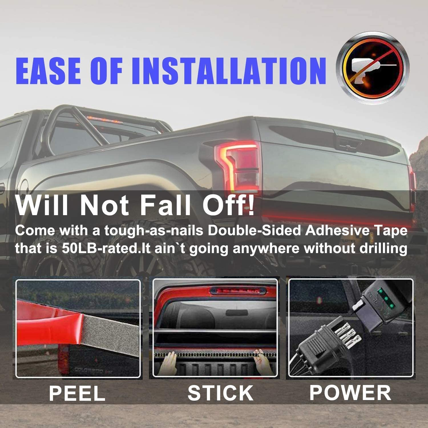 DIBMS 60 Inches LED Tailgate Light Bar Double Row Tail Light Bar White Reverse Red Brake Turn Signal Strobe Light with Standard 4-Pin Flat Connector for Pickup Trailer SUV RV VAN No Drill Install
