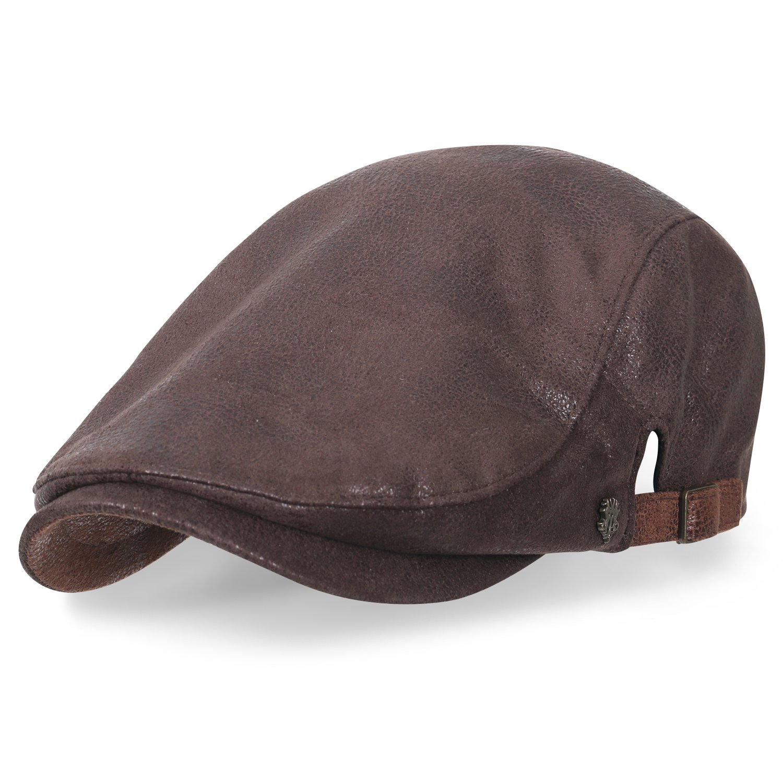 820c24919a6 ililily Large Size Faux Leather Gatsby Newsboy Hat Cabbie Hunting Flat Cap   Amazon.co.uk  Clothing