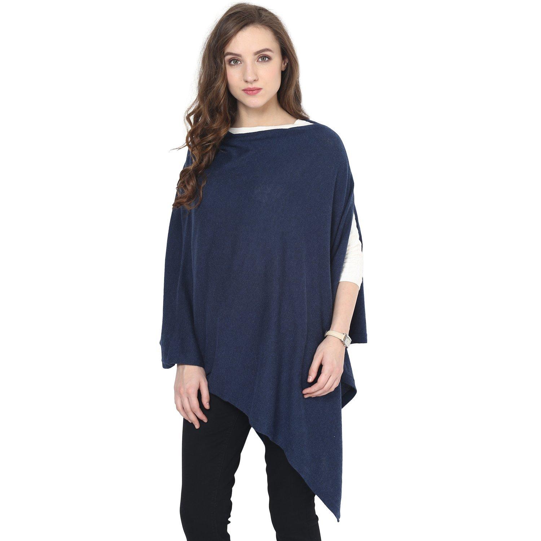 Pluchi Rosette Poncho/Fashion Scarves/Free Size (Rosette, Navy Milange)