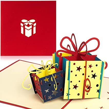 PaperCrush® - Tarjeta pop-up (2 cajas de regalo), color rojo ...