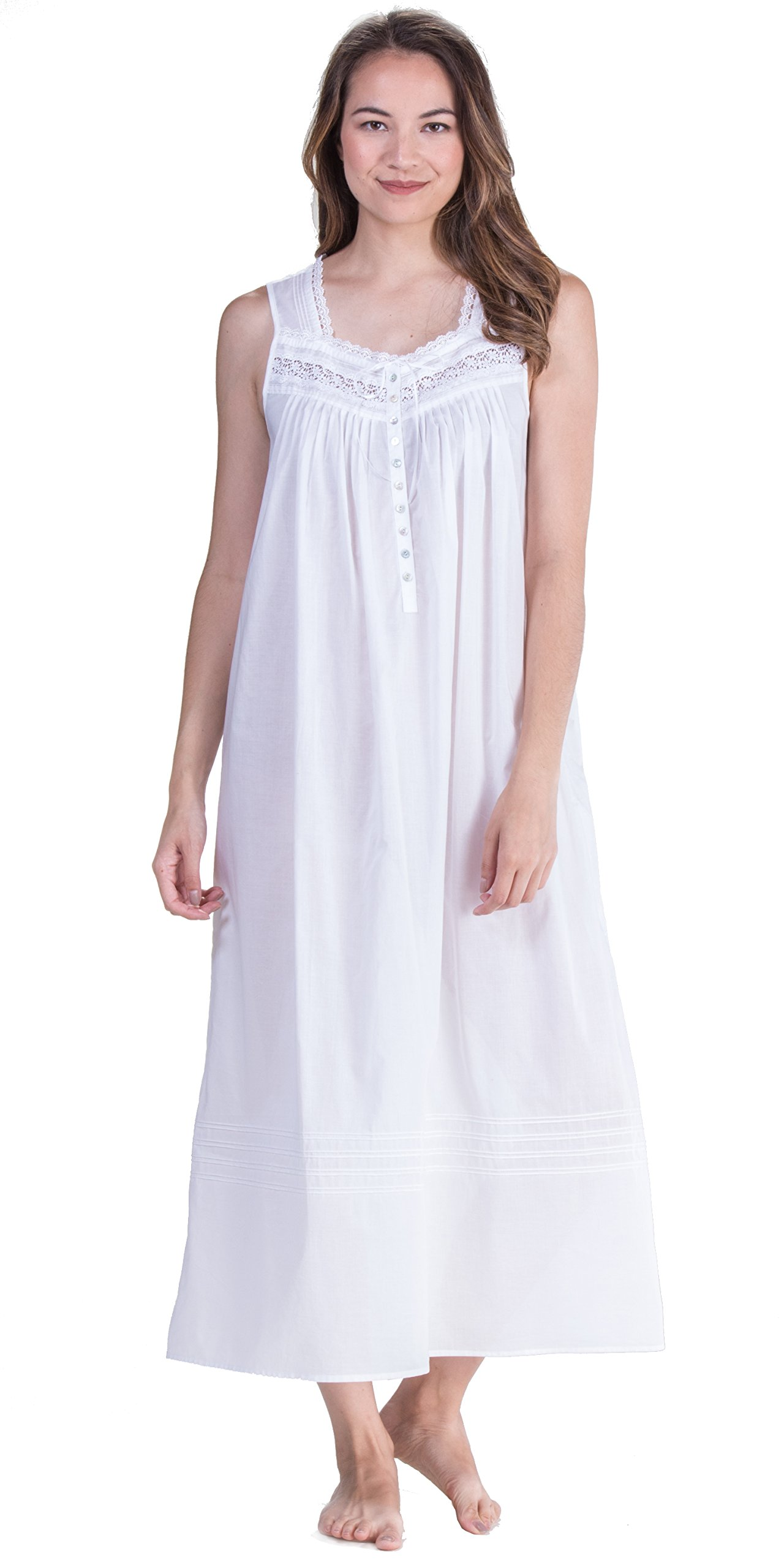 Eileen West Peignoir Set by White Cotton Gown & Robe In Magnolia (White, Large) by Eileen West (Image #3)